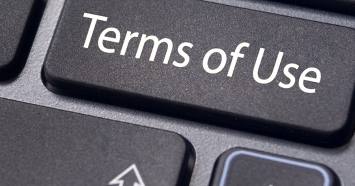 A photo of a keyboard with a terms of use key